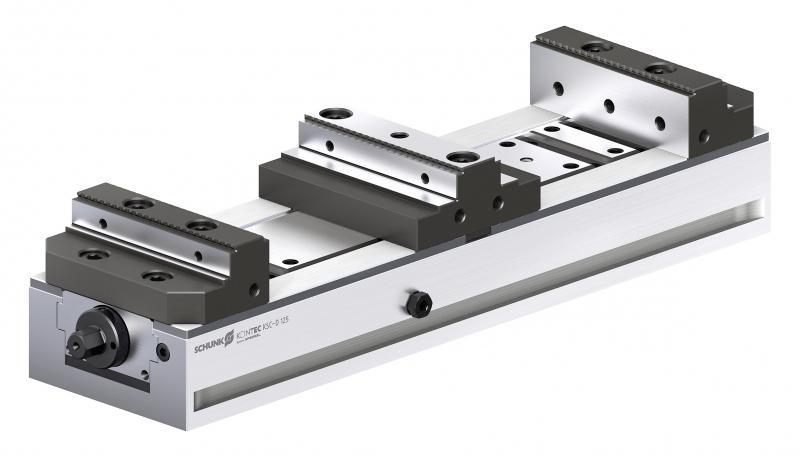 Die robusten und dennoch leichten Doppelspanner SCHUNK KONTEC KSC-D sind einfach zu reinigen und gewährleisten auf Dauer eine hohe Präzision.  Bild: SCHUNK