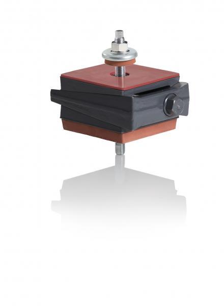 SLZ-DSF - anschraubbar an die Maschine oder freistehend  Bestückung Oberseite: Lieferung mit Gleitschutzplatten GPL 3025 ab Werk. Unterseite: Schwingungsisolierplatte IPL30.
