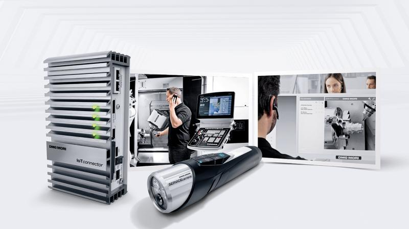 Der IoTconnector stellt die Basis für die Vernetzung neuer DMG MORI Maschinen dar, während die neue SERVICEcamera einen Live-Stream in die laufende NETservice Anwendung ermöglicht.