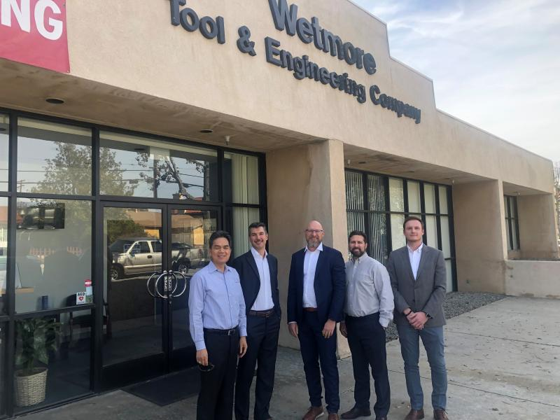 Pictured (From left to right): Jerome David (CEO, Wetmore Tool and Engineering), Filippo Mauri (business controller, Dormer Pramet), Stefan Steenstrup (president, Dormer Pramet), Cameron Reilly (managing director, Corridor Capital) and Martin Sehnal (program operations manager, Dormer Pramet North America).