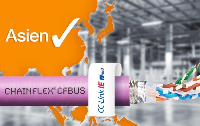 Neue chainflex Ethernetleitungen sorgen mit berechenbarer und garantierter Lebensdauer sowie Zertifikat für CC-Link IE Protokolle für eine schnelle Datenübertragung und einen einfachen Handel im asiatischen Raum.