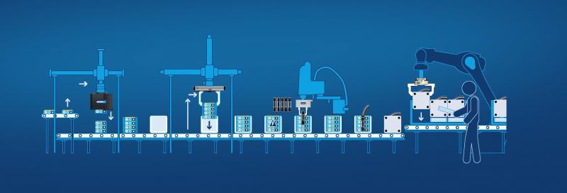 Hocheffiziente Batteriepack-Montage: SCHUNK Greifsysteme ermöglichen ein automatisiertes Aufnehmen und Stapeln der Zellmodule, schnelle Fügeprozesse und eine hohe Prozesssicherheit. Bild: SCHUNK