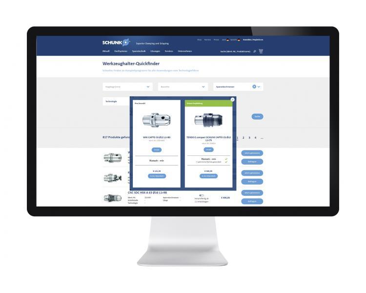 Der webbasierte Werkzeughalter Quickfinder vereinfacht die Suche nach der passenden Werkzeugaufnahme und liefert Ideen zur Spannmitteloptimierung. Bild: SCHUNK