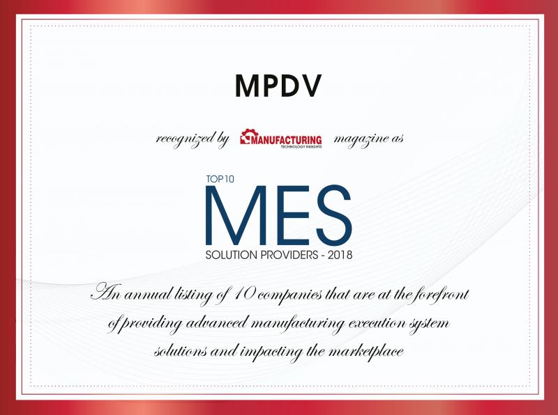 MPDV awarded as Top 10 MES Solution Provider