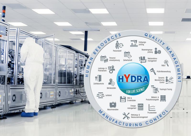Die Branchenlösung HYDRA for Life Science von MPDV bietet ein breites Feld an Standardfunktionen für regulierte Fertigungsunternehmen.