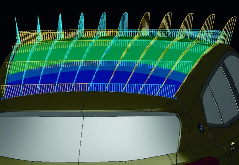 Um die Oberflächengüte der rückgeführten Flächen zu beurteilen, nutzen die Mitarbeiter im Design-Studio die vielfältigen Krümmungsdiagnosen in Tebis.