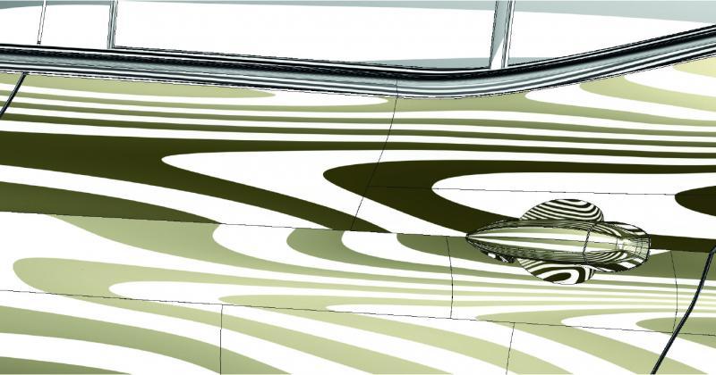 Auf Knopfdruck wird in Echtzeit anhand der Reflexionsdiagnose (Zebrashading) die Glätte der mit Tebis erzeugten Design-Flächen erkennbar.