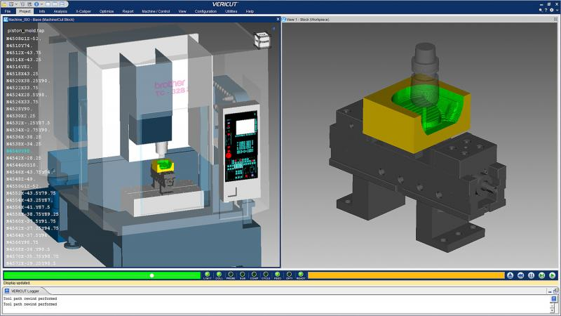 VERICUT Simulation with NC Program HUD (Head-Up Display)