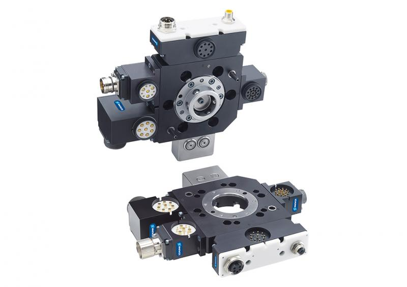 The SCHUNK SWS-046 quick-change module is suitable for loads up to 50 kg and offers numerous options for supplying energy and signals to a wide variety of front-end effectors. 