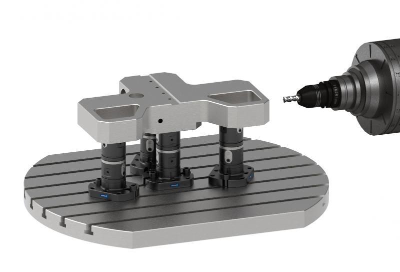 SCHUNK VERO-S WDM-5X gewährleistet in der 5-Achs-bearbeitung eine optimale Zugänglichkeit. Die Spannmodule werden einfach und schnell per Sechskantschlüssel betätigt.  Bild: SCHUNK
