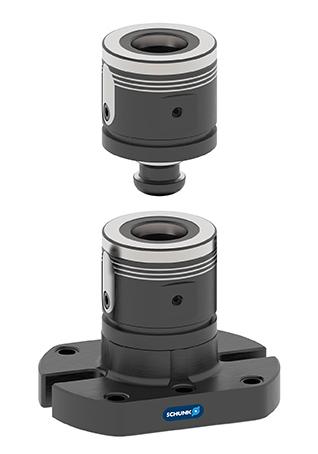 Die einzelnen Spannmodule der Baureihe VERO-S WDM-5X lassen sich medienfrei im Handumdrehen per Sechskantschlüssel zu Spannsäulen in beliebigen Höhen kombinieren. Bild: SCHUNK