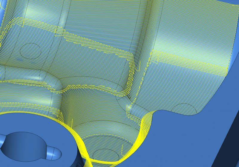 """Die Funktion """"Sanftes Überlappen"""" sorgt für beste Oberflächenqualitäten zwischen den einzelnen Bearbeitungsbereichen."""