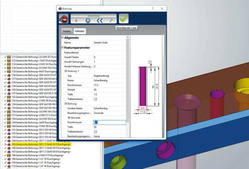Änderungen an CAD-Features werden automatisch in hyperMILL® übernommen.