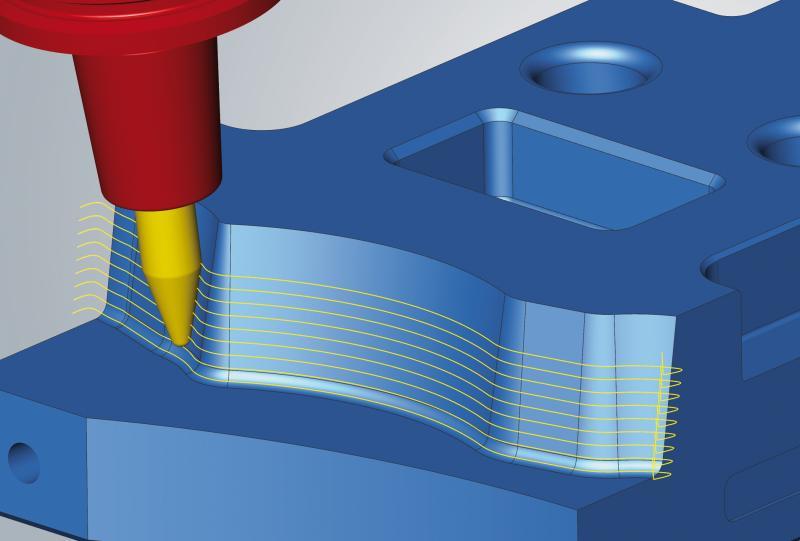 Flächenübergreifende Bearbeitung mehrerer Freiformflächen – einfache Selektion, schnelle Programmierung: Aufwendiges Erstellen von Schnittkonturen im CAD-System entfällt.