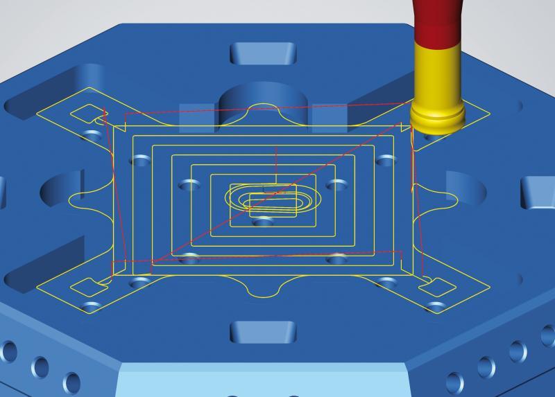 Perfect-Pocketing-Technologie passt Taschen perfekt in den zu bearbeiteten Bereich ein und optimiert Werkzeugbahnen für das Hochvorschubfräsen.