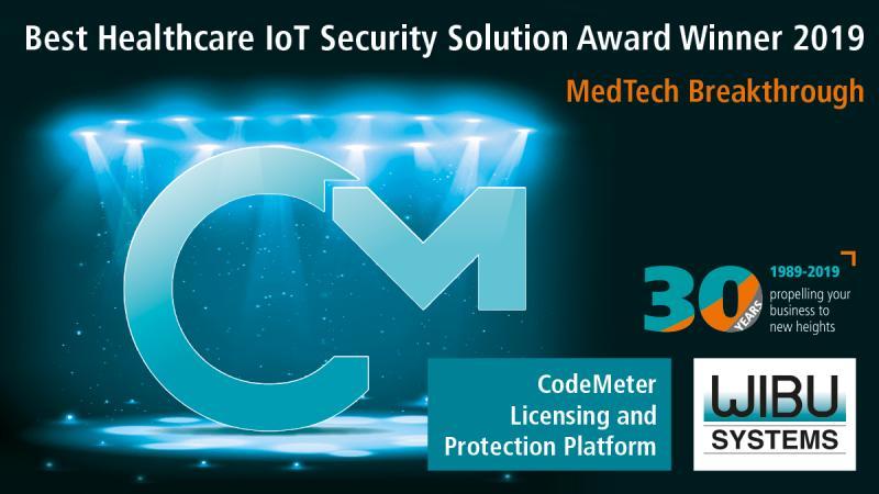 """Die CodeMeter-Technologie für Softwareschutz und Lizenzierung von Wibu-Systems wird zum Sieger in der Rubrik """"Best Healthcare IoT Security Solution"""" gekürt."""