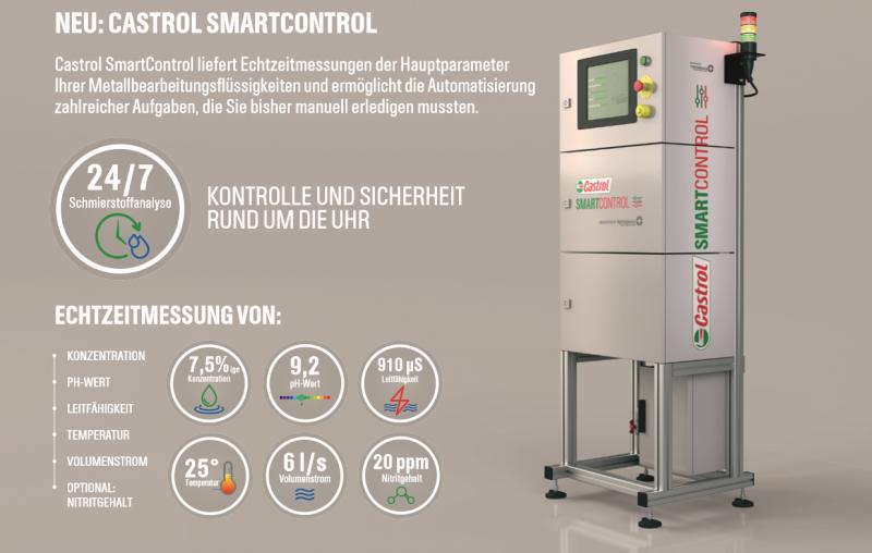 Castrol Smart Control liefert Echtzeitmessungen der Hauptparameter Ihrer Metallbearbeitungsflüssigkeiten.