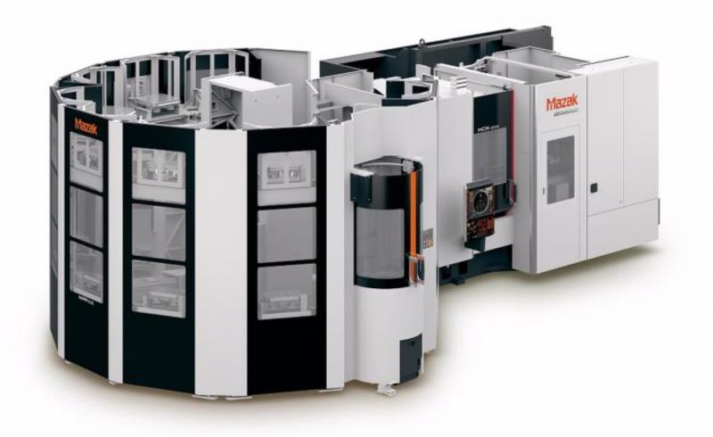 Die Automatisierung der HCN-5000 mit dem Mazak-eigenen Multi-Pallet-Pool System (MPP) ermöglicht eine mannlose Fertigung über einen längeren Zeitraum hinweg.