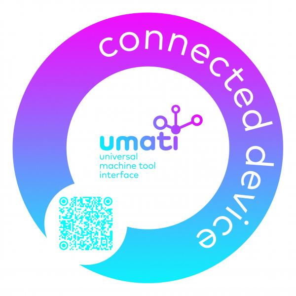 This sticker on a machine indicates that it is connected via umati. The data can be tracked live in a central dashboard by scanning the QR code.