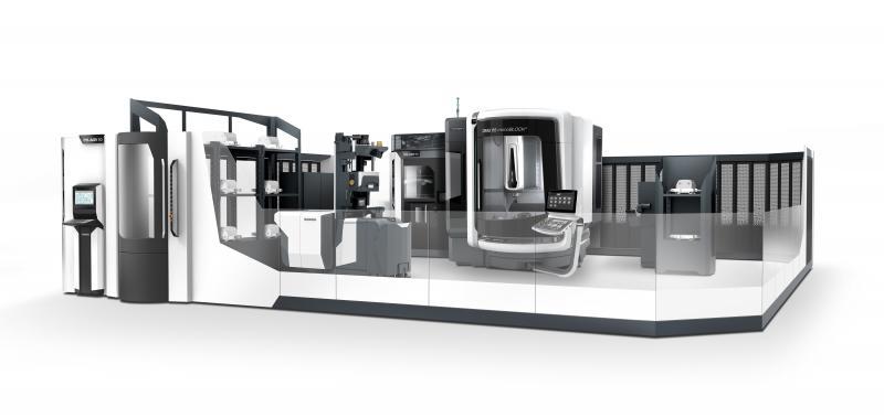 Ein Highlight unter den zahlreichen Automationslösungen in Halle 2 ist die DMU 65 monoBLOCK mit dem neuen AGV (Automated Guided Vehicle), einem autonomen System für die Palettenautomation.