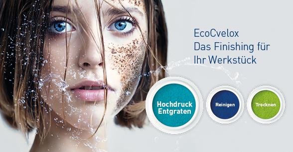 Die EcoCvelox ist eine innovative und kosteneffizienteEntgrat- und Reinigungsanlage welche Hochdruck-Wasserstrahlentgraten mit unterschiedlichen Niederdruck-Reinigungsprozessen in einer Anlage effizient kombiniert.