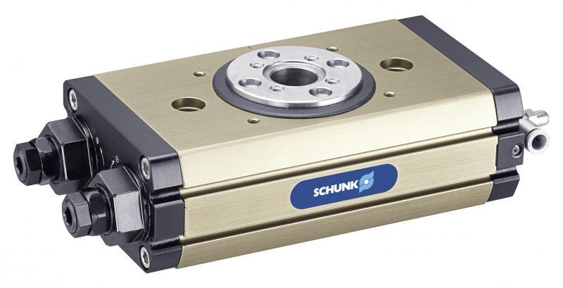 Die SCHUNK SRM ist die robusteste und leistungsdichteste pneumatische Schwenkeinheit am Markt. Auch bei der Größe der Mittenbohrung definiert sie neue Maßstäbe.