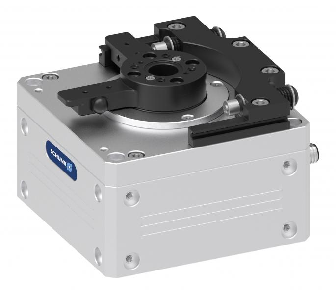 Using highly intelligent auto-learn technology, the low-wear, mechatronic swivel module SCHUNK ERP adjusts its movement profile automatically to the corresponding component weight.