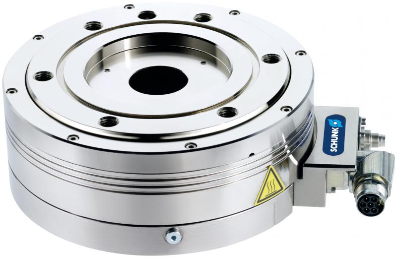 The mechatronic SCHUNK ERS allows multiple applications in confined spaces. On request, it is available in a dust- and splash-proof version (IP54), and with a pneumatic-electric rotary feed-through.