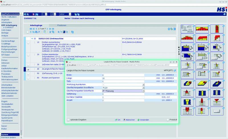 Mit HSplan/ES bietet HSi insbesondere mittelständischen ERP-/PPS-Anwendern eine 'eingebettete Lösung' an.  Es wird vom Arbeitsgang im ERP-System der HSi-Arbeitsstufen-Editor geöffnet.