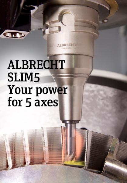 With the Slim5 Precision Chuck from Albrecht, operators can safely and reliably clamp tools in hard-to-reach areas, especially with 5-axis applications.