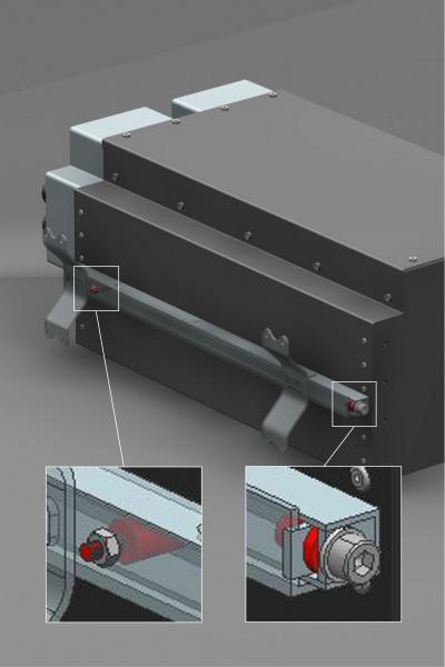 Schnellbefestigungselemente von ACE (Pfeile) schützen die Leistungselektronik, indem sie diese von Fahrwerksvibrationen des elektrisch angetriebenen Rennwagens entkoppeln