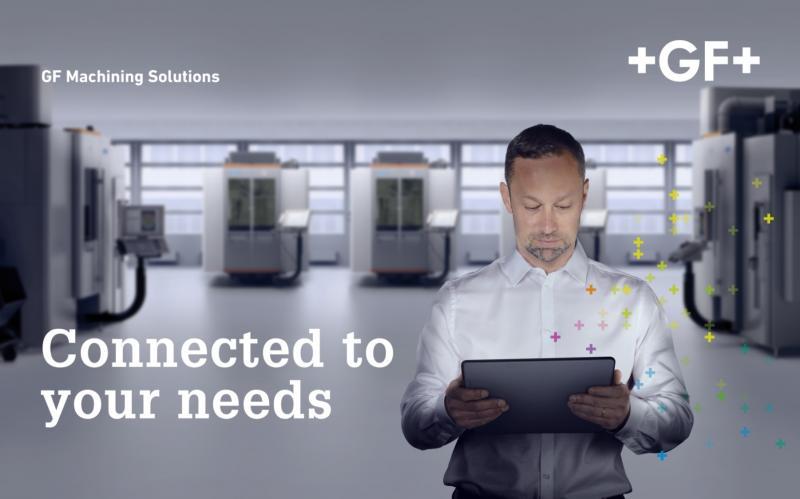 """Unter dem Motto """"Connected to your needs"""" präsentiert sich GF Machining Solutions auf der EMO Hannover 2019 auf einer Standfläche von 1.156 Quadratmetern. Das kundenorientierte Ausstellungsangebot der GF-Division umfasst eine breite Palette an zukunftsorientierten und intelligenten Lösungen, die Herstellungsprozesse auf eine neue Produktivitätsstufe heben."""