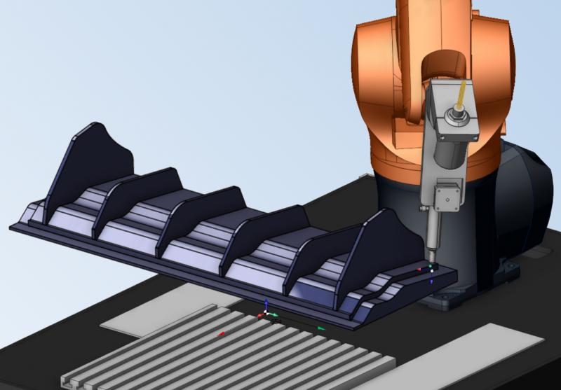 Mit Centum® besteht die Möglichkeit, am Roboter die Verfahren Drucken und Fräsen zu kombinieren. Im Bild sehen Sie einen Heckspoiler, der auf dem System gefertigt wurde. Aufgrund des Roboter Arbeitsbereichs bestehen hier keine Größen Beschränkungen.