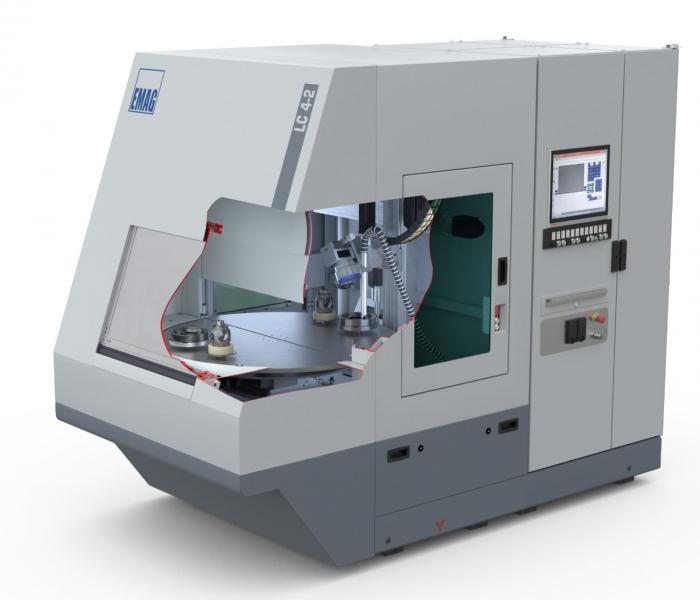 Die LC 4-2 lässt sich auch unabhängig vom Laserschweißen als Stand-Alone-Maschine einsetzen. Die Maschine ist für Teile mit einen max. Durchmesser von 200 mm und einer max. Höhe von 350 mm.