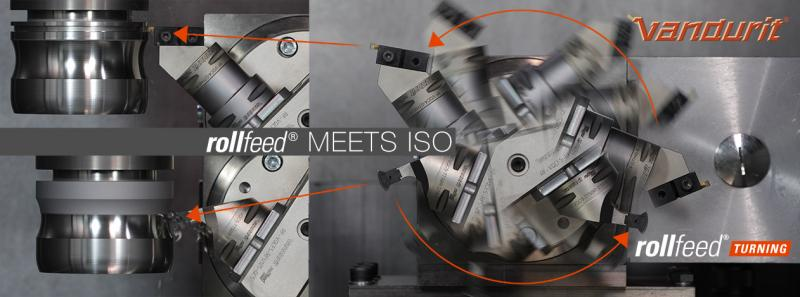 With new product innovation rollFEED® double tool fitting VQCF2 you can use one rollFEED® unit for two different applications, for example rollFEED® turning and ISO grooving.
