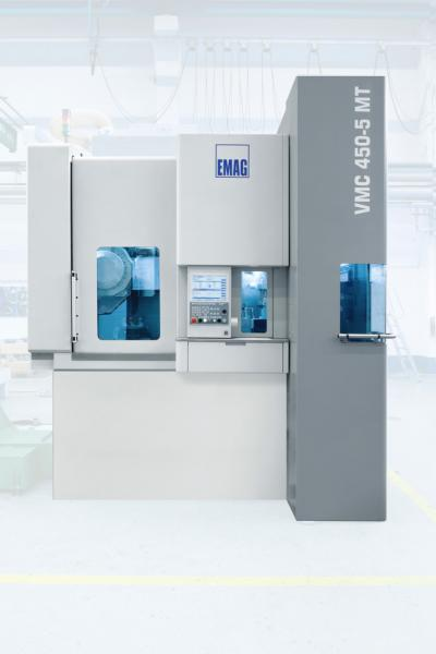 With the VMC 450-5 MT vertical turning/milling center, all turning, milling, drilling and gear cutting processes are performed in a single machining area.