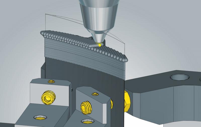 Hybride Bearbeitung mit hyperMILL® ADDITIVE Manufacturing: Reparatur einer Turbinenschaufel