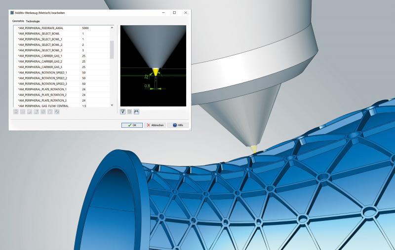 Detailgetreue Abbildung des Laserbearbeitungskopfes in hyperMILL®