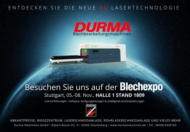 Durma - Einladung zur Blechexpo in Stuttgart