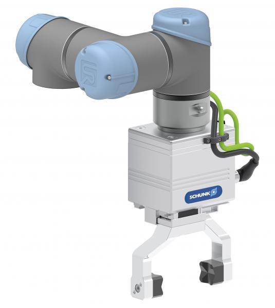 Der Großhubgreifer EGL definiert innerhalb des SCHUNK Plug & Work-Portfolios für UR eine neue Dimension bei Hub, Kraftregelung und Robustheit. Er eignet sich insbesondere für die Beladung von Werkzeugmaschinen, aber auch für andere Handlingaufgaben mit Teilegewichten bis 3 kg.