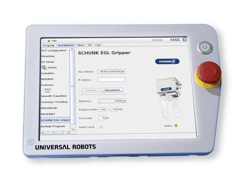Über das URCaps-Plugin lässt sich der intelligente SCHUNK EGL intuitiv programmieren.