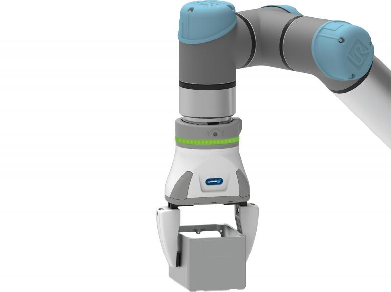 The SCHUNK EGH Co-act gripper has an adjustable overall stroke of 80 mm and therefore can handle different workpieces.
