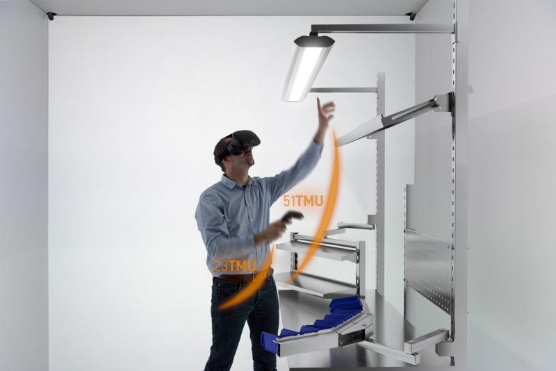 """Im Projekt """"Virtual-Reality-basierte Beurteilung von manuellen Fertigungsaktivitäten anhand von Methods-Time-Measurement (VR-MTM)"""" werden virtuelle Abbilder realer Fertigungsszenarien genutzt."""