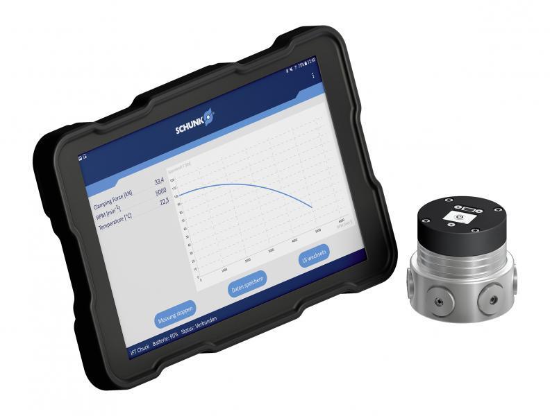 Mit dem Spannkraftmessgerät IFT lässt sich bei 2-, 3- und 6-Backenfuttern komfortabel die Spannkraft ermitteln – entweder statisch oder dynamisch mit bis zu 6.000 min-1. Die Auswertung erfolgt komfortabel via App auf Tablet-Computern oder anderen Endgeräten.