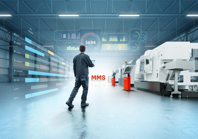 The new MMS Domain, Work Cell Operations (WCO), now makes it possible to include all manual production tasks, work cells, and stand-alone machines in the IT-supported planning, control and monitoring of production. For this purpose, the solution can be used either separately for machines or manual workstations or in combination with an automated pallet and/or workpiece handling system.