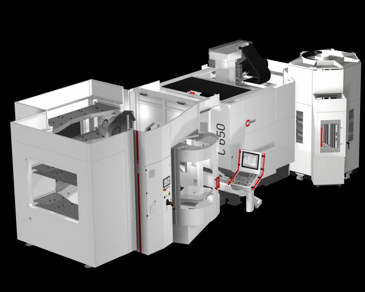 Handlingsystem HS flex heavy mit zwei Speichermodulen adaptiert an ein 5-Achsen Bearbeitungszentrum C 650 im Schnittbild