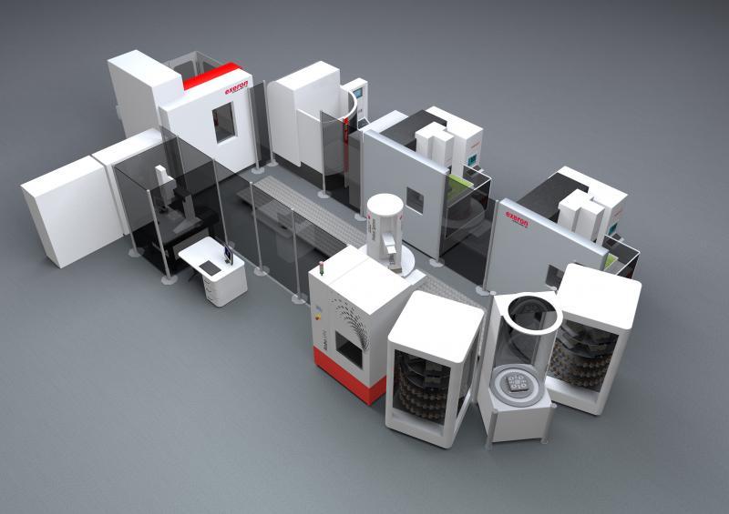 Verfahrensgemischte Automationszelle für die Medizintechnik: Exerons Fertigungskombination Fräsen, Senkerodieren, Reinigen und Messen mit Nullpunktspannsystem von Erowa und Prozessleitsystem von Certa Systems.