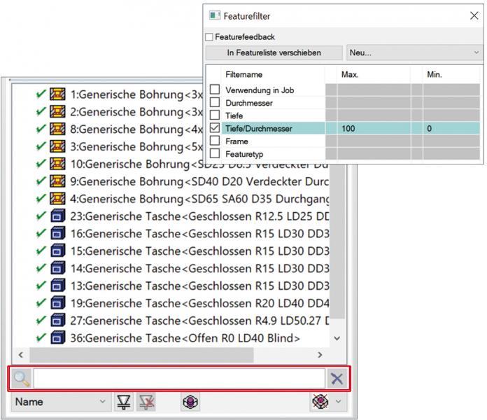 Zeiteinsparung bei der Programmierung bietet die Textsuche in der Featureverwaltung