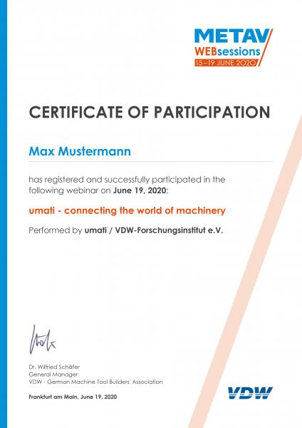 Certificate of participation to the Web Sessions
