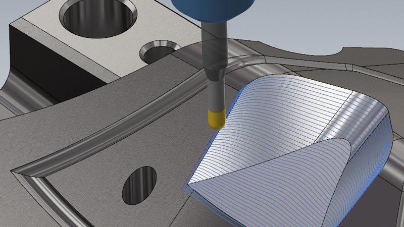 """In der neuen Version unserer CAD/CAM-Software Mastercam 2021 ist die Funktion """"3D"""" im Bereich des 3D-HSC-Werkzeugweg Blenden neu integriert worden.   Mastercam erzeugt, basierend auf den Parametern, auch in steilen Bereichen gleichmäßige Werkzeugwege über die gesamte 3D-Kontur und fügt – wenn notwendig – Schnitte hinzu. Das Ergebnis dieser Funktion sind gleichmäßige Werkzeugwege mit konstanten Querzustellungen bzw. Abständen auch auf unebenen Konturen."""